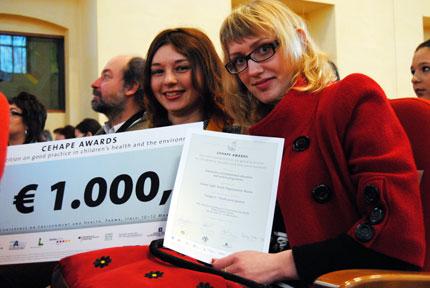 Ирина Федоренко и Евгения Соболева, молодежный проект Грин Лайт, Парма, Италия, правительственная министерская конференция по окружающей среде и охране здоровья, 10-12 марта 2010 г.